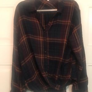 Plaid button down top with twist detail